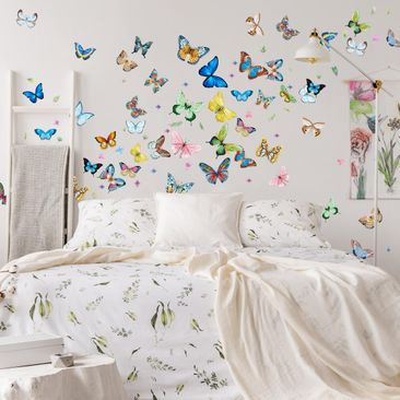 Product picture Wall Sticker - Butterflies Watercolor...
