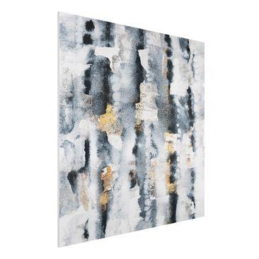 Produktfoto Forex Fine Art Print - Abstraktes Aquarell mit Gold - Quadrat 1:1