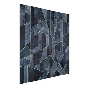 Produktfoto Forex Fine Art Print - Blaue Geometrie Aquarell - Quadrat 1:1