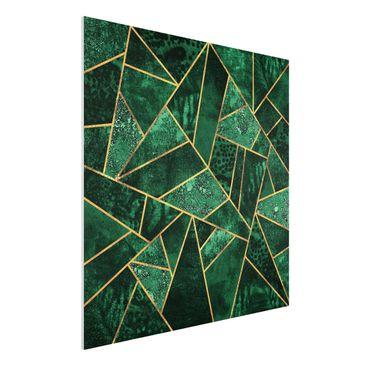 Produktfoto Forex Fine Art Print - Dunkler Smaragd mit Gold - Quadrat 1:1