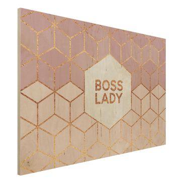 Produktfoto Holzbild - Boss Lady Sechsecke Rosa - Querformat 2:3