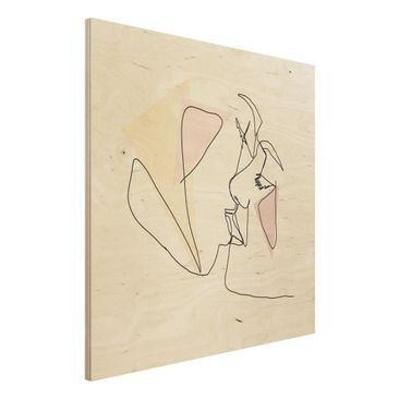 Immagine del prodotto Stampa su legno - Bacio Faces Line Art - Quadrato 1:1