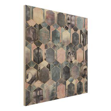 Immagine del prodotto Stampa su legno - Art Deco di marmo oro - Quadrato 1:1