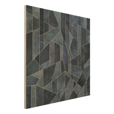 Produktfoto Holzbild - Blaue Geometrie Aquarell - Quadrat 1:1
