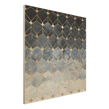 Immagine del prodotto Stampa su legno - Blu Geometria Golden Art Deco - Quadrato 1:1