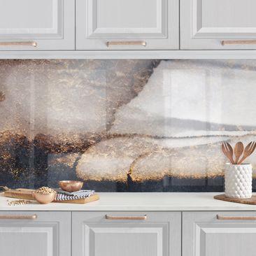 Produktfoto Küchenrückwand - Goldener Marmor gemalt vergrößerte Ansicht in Wohnambiente Artikelnummer 257857-XWA