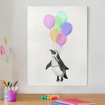 Produktfoto Leinwandbild - Illustration Pinguin Pastell Luftballons - Hochformat 4-3 vergrößerte Ansicht in Wohnambiente Artikelnummer 258082-XWA