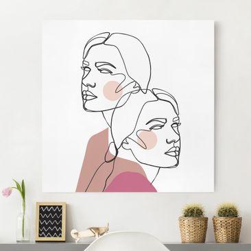 Produktfoto Leinwandbild - Line Art Frauen Portrait Wangen Rosa - Quadrat 1-1 vergrößerte Ansicht in Wohnambiente Artikelnummer 258097-XWA