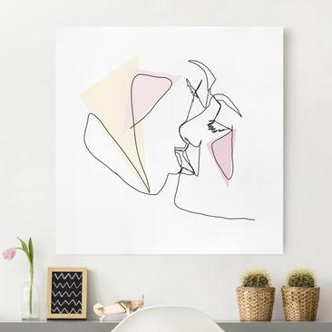 Produktfoto Leinwandbild - Kuss Gesichter Line Art - Quadrat 1-1 vergrößerte Ansicht in Wohnambiente Artikelnummer 258112-XWA
