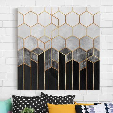 Produktfoto Leinwandbild - Goldene Sechsecke Schwarz Weiß - Quadrat 1-1 vergrößerte Ansicht in Wohnambiente Artikelnummer 258151-XWA