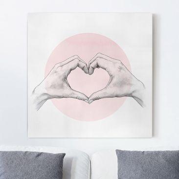 Produktfoto Leinwandbild - Illustration Herz Hände Kreis Rosa Weiß - Quadrat 1-1 vergrößerte Ansicht in Wohnambiente Artikelnummer 258189-XWA