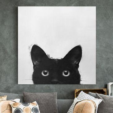 Produktfoto Leinwandbild - Illustration Schwarze Katze auf Weiß Malerei - Quadrat 1-1 vergrößerte Ansicht in Wohnambiente Artikelnummer 258198-XWA