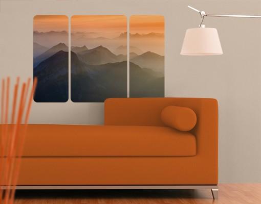 Produktfoto Selbstklebendes Wandbild Blick von der Zugspitze Triptychon II