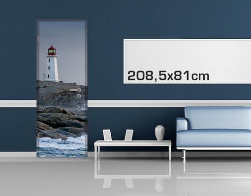 Produktfoto Türtapete Leuchtturm - Sturmwellen am Leuchtturm - selbstklebend