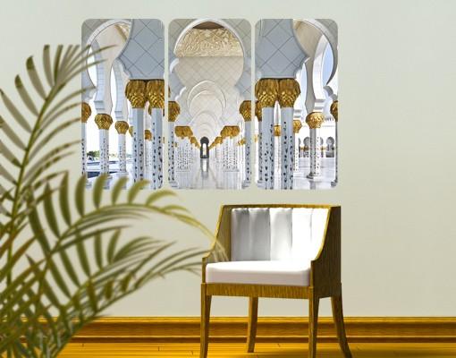 Produktfoto Selbstklebendes Wandbild Moschee in Abu Dhabi Triptychon I