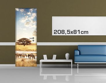 Product picture Door Wall Mural The Life Of The Zebras