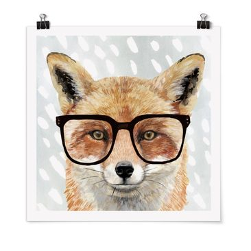 Product picture Poster - Bespectacled Animals - Fox -...