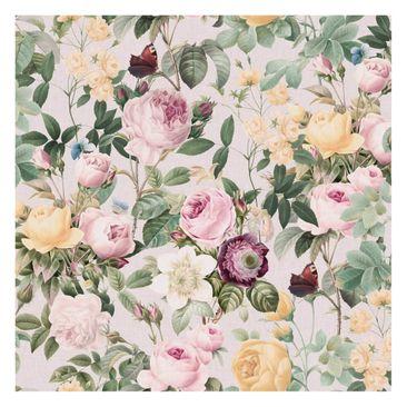 Produktfoto Fototapete - Vintage Blumen Illustration XXL - Fototapete Quadrat