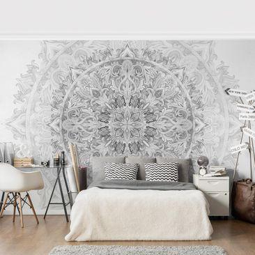 Produktfoto Tapete selbstklebend - Mandala Aquarell Ornament Muster schwarz weiß - Fototapete Querformat