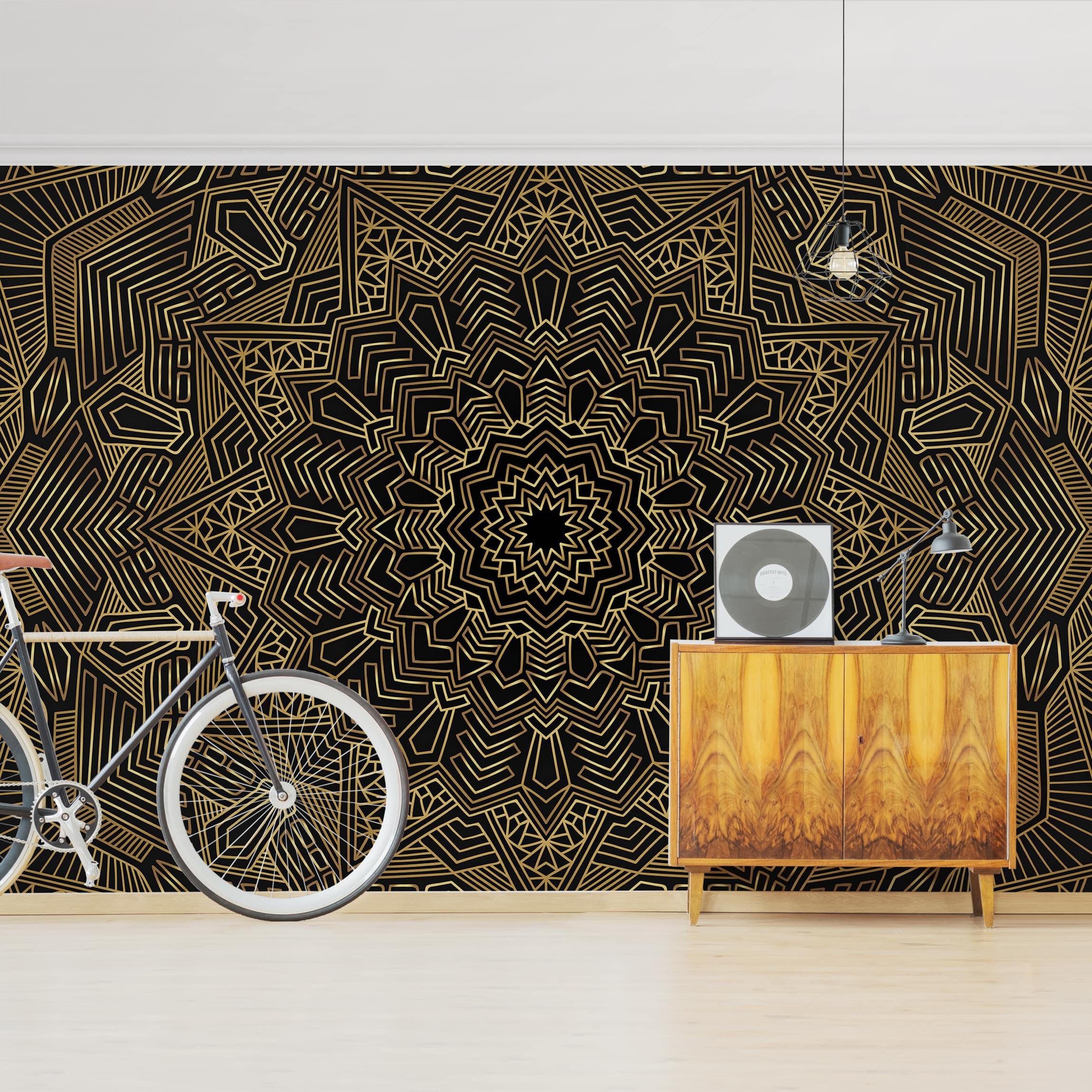 Tapete selbstklebend - Mandala Stern Muster gold schwarz ...