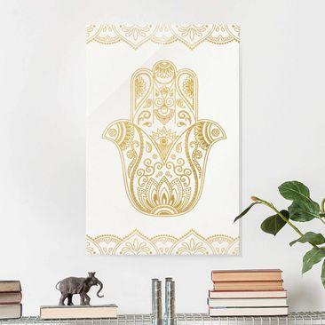 Produktfoto Glasbild - Hamsa Hand Illustration weiß gold - Querformat 2:3