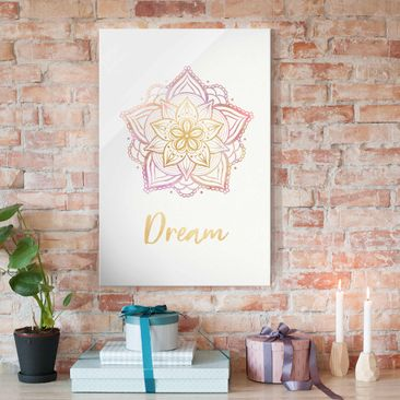 Produktfoto Glasbild - Mandala Illustration Dream gold rosa - Querformat 2:3
