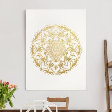 Produktfoto Leinwandbild - Mandala Illustration Ornament weiß gold - Hochformat 4-3 vergrößerte Ansicht in Wohnambiente Artikelnummer 260723-XWA