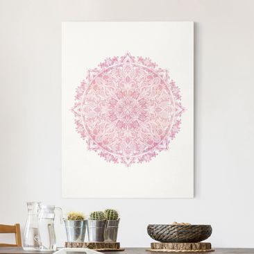 Produktfoto Leinwandbild - Mandala Aquarell Rose Ornament rosa - Hochformat 4-3 vergrößerte Ansicht in Wohnambiente Artikelnummer 260734-XWA