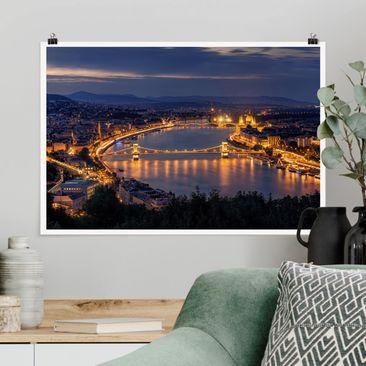 Produktfoto Poster - Blick über Budapest - Querformat 2-3 Material matt Artikelnummer 260761-CU