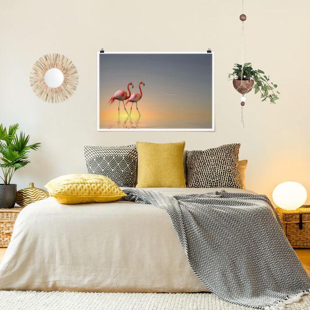 Produktfoto Poster - Flamingo Love - Querformat 2:3