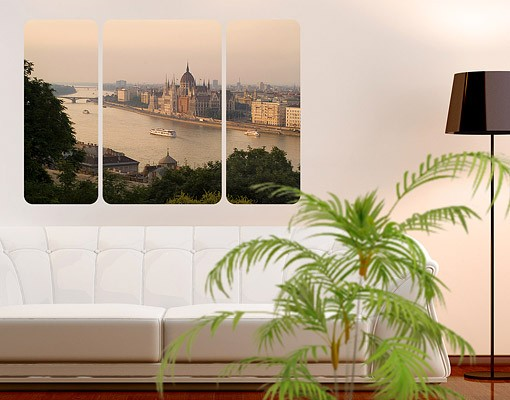 Produktfoto Selbstklebendes Wandbild Budapest Skyline Triptychon II