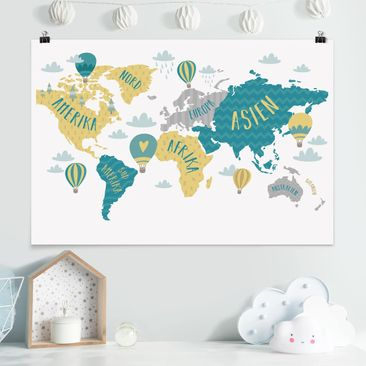 Produktfoto Poster - Weltkarte mit Heißluftballon - Querformat 2-3 Material matt Artikelnummer 261125-CU