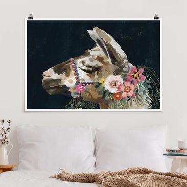 Immagine del prodotto Poster - Lama Con Decorazione Floreale II - Orizzontale 2:3