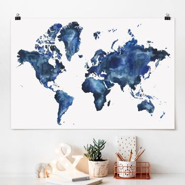 Produktfoto Poster - Wasser-Weltkarte hell - Querformat 2:3