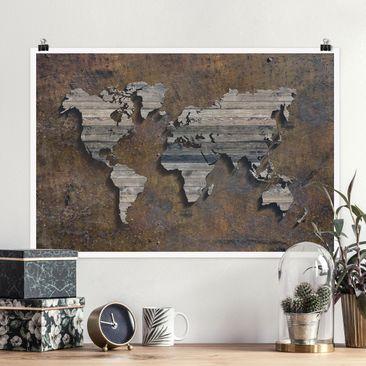 Produktfoto Poster - Holz Rost Weltkarte - Querformat 2-3 Material glänzend Artikelnummer 261710-CU