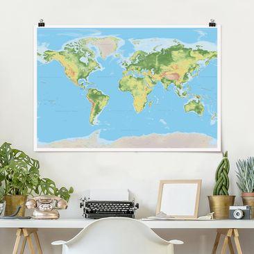 Produktfoto Poster - Physische Weltkarte - Querformat 2-3 Material glänzend Artikelnummer 261859-CU
