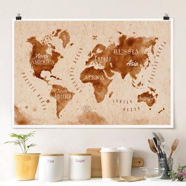 Produktfoto Poster - Weltkarte Aquarell beige braun - Querformat 2-3 Material glänzend Artikelnummer 262018-CU