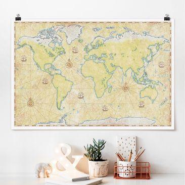 Produktfoto Poster - World Map - Querformat 2-3 Material glänzend Artikelnummer 262037-CU