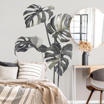 Immagine del prodotto Adesivo murale - Set di foglie di Monstera in acquerello XXL