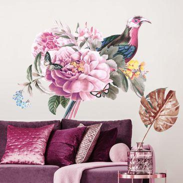 Immagine del prodotto Adesivo murale - Illustrazione vintage di uccellini XXL