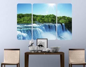 Produktfoto Selbstklebendes Wandbild Wasserfalllandschaft Triptychon II