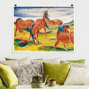 Produktfoto Poster - Franz Marc - Weidende Pferde - Querformat 3:4