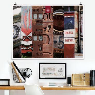 Produktfoto Poster - Route 66 - Collage Diesel - Querformat 3:4