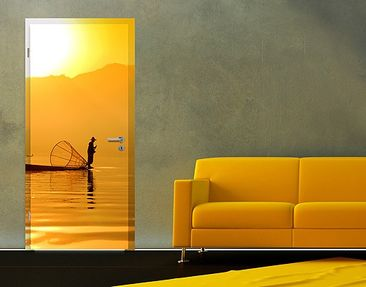 Produktfoto Door Wall Mural Fisherman In The Sunrise