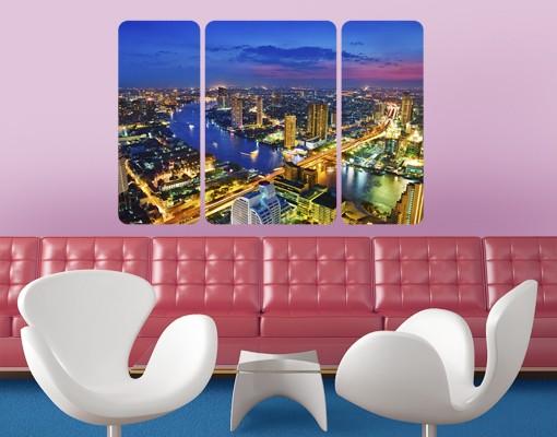 Produktfoto Selbstklebendes Wandbild Bangkok Skyline Triptychon II