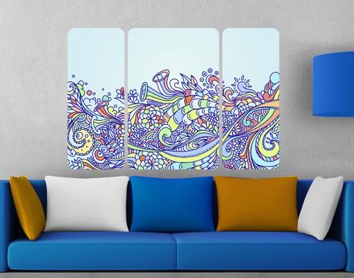 Produktfoto Selbstklebendes Wandbild Sommerlicher Blütentraum Triptychon II