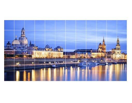 Produktfoto Fliesenbild Canaletto-Blick bei Nacht