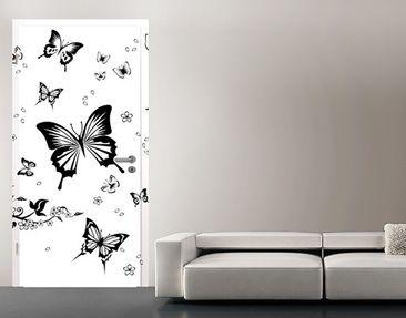 Produktfoto Türtapete Blumen selbstklebend -  Blumen und Schmetterlinge
