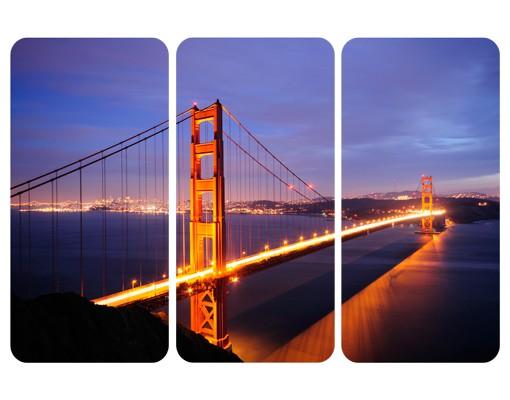 Produktfoto Selbstklebendes Wandbild Golden Gate Bridge bei Nacht Triptychon I