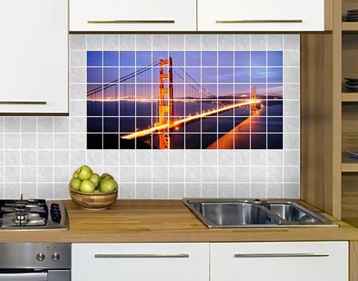 Produktfoto Fliesenbild Golden Gate Bridge bei Nacht